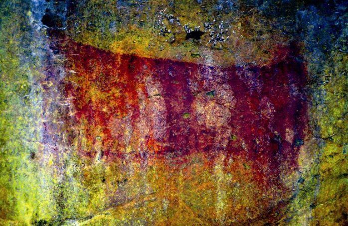 Uno de los signos cuadrangulares descubiertos en la cueva de Solviejo (Voto).