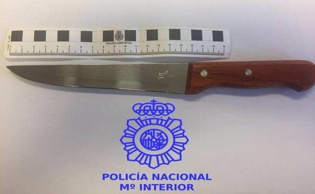 Cuchillo incautado por la Policía al entracador de repartidores de pizza./CNP